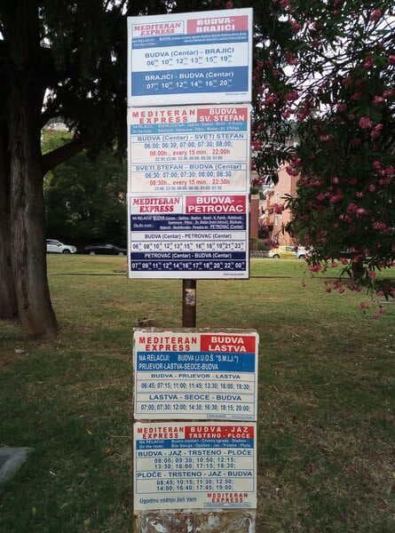 Расписание пригородных автобусов в Будве